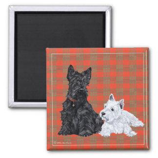 スコッチテリアの大人及びWestieの子犬 マグネット