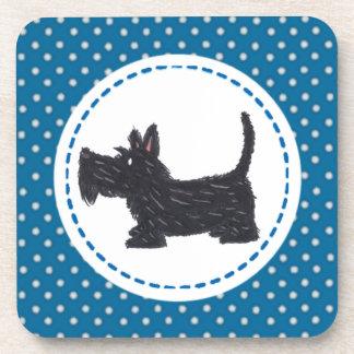 スコッチテリアの子犬のコースター-青い水玉模様 コースター