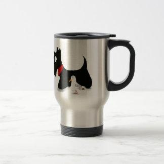 スコッチテリアの犬及びカモメ トラベルマグ