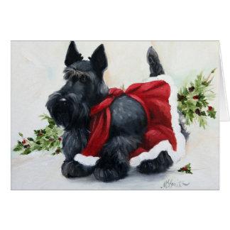 スコッチテリアスコットランドテリア犬のメリークリスマス カード