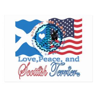スコッチテリア愛、平和およびスコットランドテリア ポストカード
