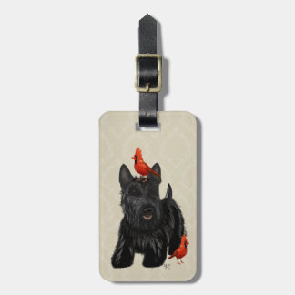 スコッチテリア犬および赤い鳥 ラゲッジタグ