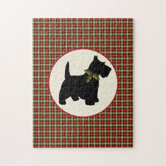 スコッチテリア犬のスコットランドの格子縞のクリスマス ジグソーパズル
