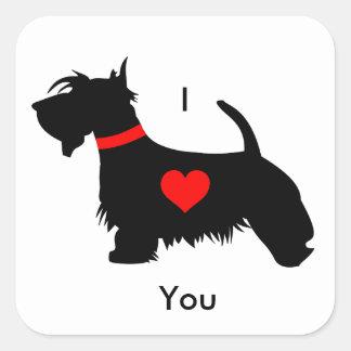 スコッチテリア犬のステッカー- I愛 スクエアシール
