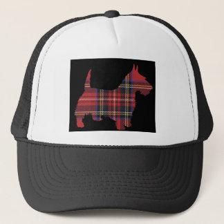 スコッチテリア犬のタータンチェック キャップ