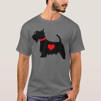 スコッチテリア犬のハートの人の暗いTシャツ Tシャツ
