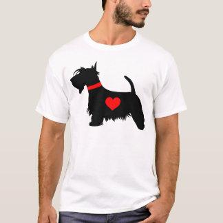 スコッチテリア犬のハートの人のTシャツ Tシャツ