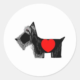 スコッチテリア犬のバレンタイン ラウンドシール