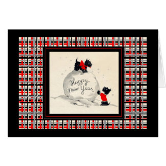 スコッチテリア犬の明けましておめでとうのヴィンテージのイメージ カード