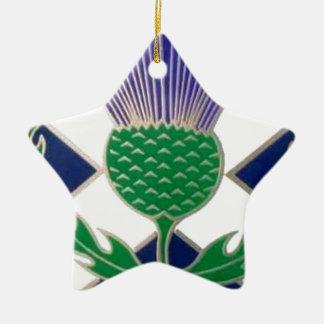 スコットランドおよびアザミの旗 陶器製星型オーナメント