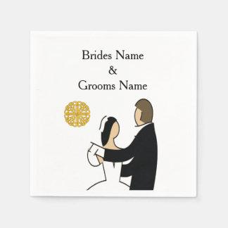 スコットランドおよびケルト族のカップルの結婚式のテーマ スタンダードカクテルナプキン