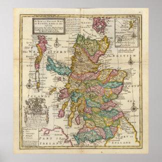 スコットランドおよび島の新しく、正しい地図 ポスター