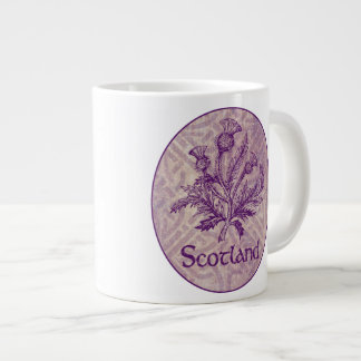 スコットランドのアザミの紫色のケルト結び目模様 ジャンボコーヒーマグカップ