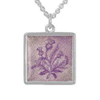 スコットランドのアザミの紫色のケルト結び目模様 スターリングシルバーネックレス