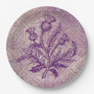 スコットランドのアザミの紫色のケルト結び目模様 ペーパープレート