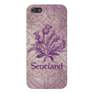 スコットランドのアザミの紫色のケルト結び目模様 iPhone SE/5/5sケース