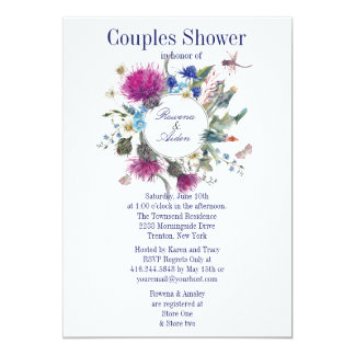 スコットランドのアザミの花柄のカップルのウェディングシャワー3 12.7 X 17.8 インビテーションカード