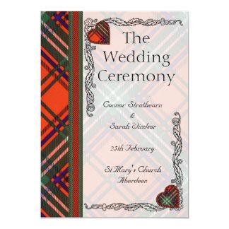 スコットランドのタータンチェックの結婚式プログラム- Seton カード