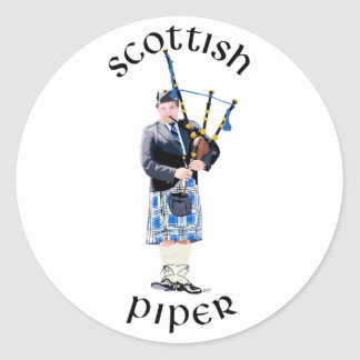 スコットランドのパイパー-青 ラウンドシール