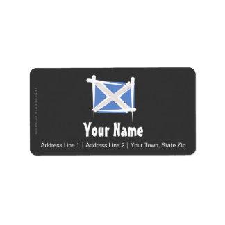 スコットランドのブラシの旗 ラベル