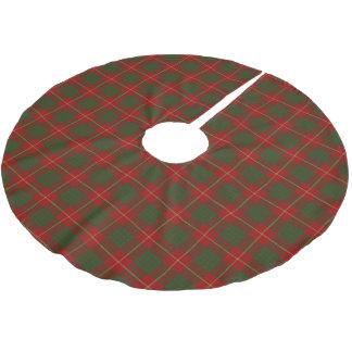 スコットランドの一族のカメロンの赤い緑のタータンチェック ブラッシュドポリエステルツリースカート
