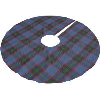 スコットランドの一族の家の暗藍色の赤い緑のタータンチェック ブラッシュドポリエステルツリースカート