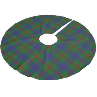 スコットランドの一族のAgnewの赤い青緑のタータンチェック ブラッシュドポリエステルツリースカート