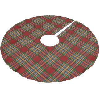スコットランドの一族のChattanの赤い緑の黄色く青いタータンチェック ブラッシュドポリエステルツリースカート