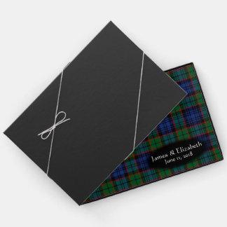 スコットランドの一族のFletcherのタータンチェック格子縞の結婚式 ゲストブック