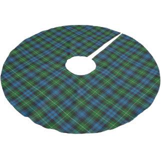 スコットランドの一族のLamontの青緑のタータンチェック ブラッシュドポリエステルツリースカート