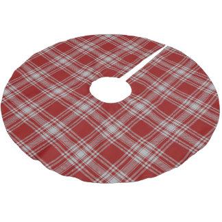 スコットランドの一族のMenziesの赤く白いタータンチェック ブラッシュドポリエステルツリースカート