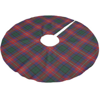 スコットランドの一族のRattrayの赤い青緑のタータンチェック ブラッシュドポリエステルツリースカート