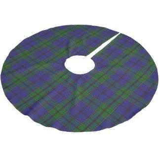 スコットランドの一族のStrachanの紫系統の緑のタータンチェック ブラッシュドポリエステルツリースカート