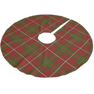 スコットランドの一族は赤い緑のタータンチェックを干し草にします ブラッシュドポリエステルツリースカート