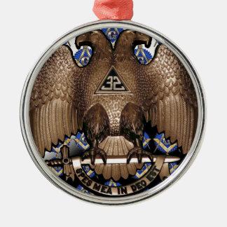 スコットランドの儀式の正方形及びコンパスの白黒Diagona メタルオーナメント