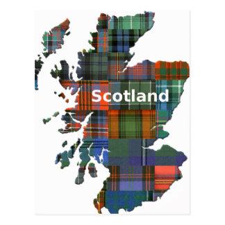 スコットランドの地図の数々のなタータンチェック ポストカード