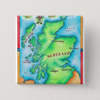 スコットランドの地図 缶バッジ