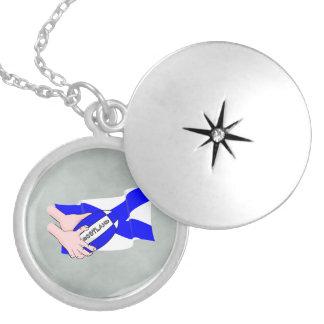 スコットランドの旗のラグビーのボールサポータ漫画手 シルバープレートネックレス
