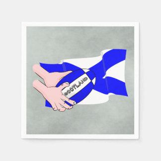 スコットランドの旗のラグビーのボールサポータ漫画手 スタンダードカクテルナプキン