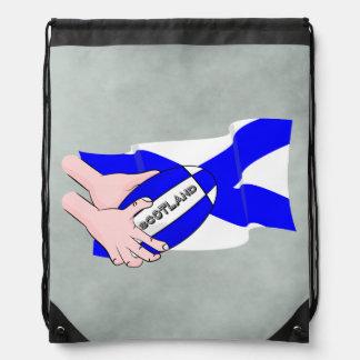 スコットランドの旗のラグビーのボールサポータ漫画手 ナップサック