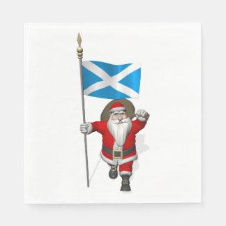 スコットランドの旗を持つすてきなサンタクロース スタンダードランチョンナプキン