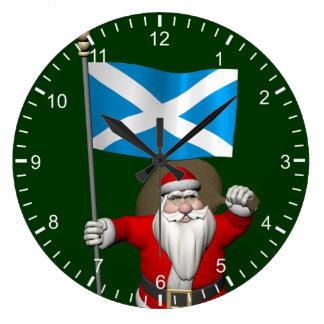 スコットランドの旗を持つサンタクロース ラージ壁時計