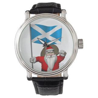 スコットランドの旗を持つサンタクロース 腕時計