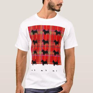 スコットランドの格子縞およびスコットランドテリア犬のTシャツ Tシャツ