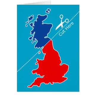 """スコットランドの独立は、""""ここの切口""""地図を描きます カード"""