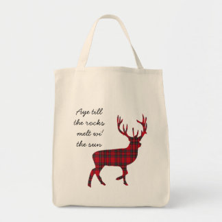 スコットランドの独立タータンチェックの雄鹿の賛成バッグ トートバッグ