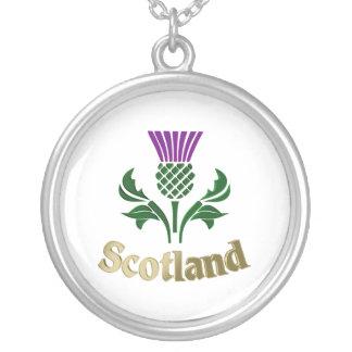 スコットランドの紋章のアザミ シルバープレートネックレス