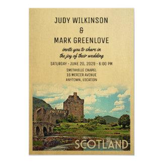 スコットランドの結婚式招待状のEilean Donanの城 カード