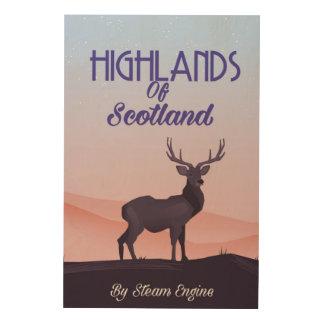 スコットランドの雄鹿旅行ポスターの高地 ウッドウォールアート