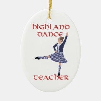スコットランドの高地のダンスの先生-青 セラミックオーナメント